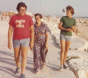 Mom and kids in Portugal 1976