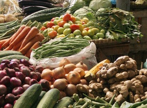 Vegetables for sale at a market in Bohol, Philippines. (Credit: Wikimedia Commons/Jasper Greek Golangco)